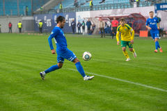 Alexander Zotov (10) on the soccer game Royalty Free Stock Images