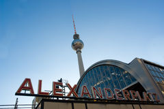 Alexanderplatz. View of the TV tower and the train station in Alexanderplatz, Berlin Royalty Free Stock Photography