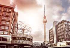 Alexanderplatz Berlin. Alexanderplatz with famous television tower and Weltzeituhr at dusk, Berlin, Germany Royalty Free Stock Photo