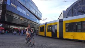 Alexanderplatz City Center Berlin Commuters Commuting Tram Ride Tramway Pass. BERLIN, GERMANY - JUNE 21, 2017: Alexanderplatz City Center Berlin Commuters stock video footage