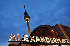 Alexanderplatz by night, Berlin, Stock Photography