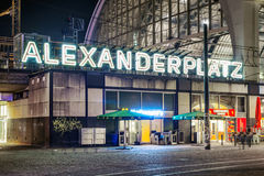 Alexanderplatz at night in Berlin Stock Photography