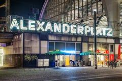 Alexanderplatz at night in Berlin Stock Photography