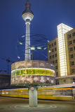 Alexanderplatz at night in Berlin Stock Image