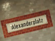 Alexanderplatz sign. Subway sign from Berlin station Alexanderplatz. Blurred spin Stock Images