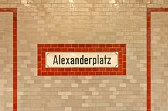 Alexanderplatz sign at U-ban station in Berlin Stock Image
