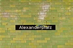 Alexanderplatz sign at U-ban station in Berlin Stock Photography