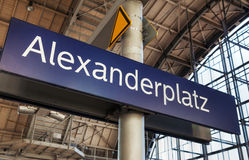 Alexanderplatz subway station sign in Berlin Stock Photo