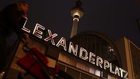 Alexanderplatz underground sign. At night in Berlin stock video