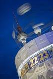 Alexanderplatz world clock. And television tower at night, berlin, germany Royalty Free Stock Photos