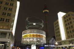 Alexanderplatz and world time clock in berlin at night Royalty Free Stock Photo