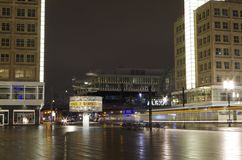 Alexanderplatz and world time clock in berlin at night Royalty Free Stock Images