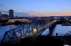 Alexandra Bridge and Gatineau skyline, Ottawa Royalty Free Stock Photo