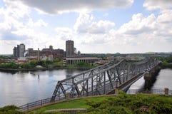 Alexandra Bridge and Gatineau skyline, Ottawa stock images