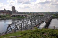 Alexandra Bridge and Gatineau skyline, Ottawa royalty free stock image