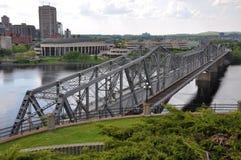 Alexandra Bridge and Gatineau skyline, Ottawa royalty free stock photography
