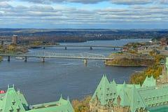 Alexandra Bridge and Macdonald-Cartier Bridge, Ottawa. Alexandra Bridge and Macdonald-Cartier Bridge across Ottawa Bridge, Ottawa, Ontario, Canada Stock Photo