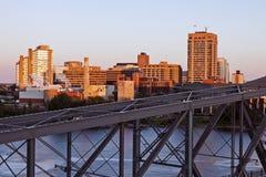Alexandra Bridge och horisont av Gatineau Arkivfoto