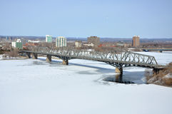 Alexandra Bridge winter view, Ottawa Stock Photos