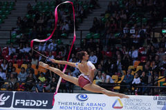 Alexandra Piscupescu performs with ribbon Stock Images