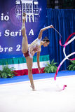 Alexandra Piscupescu performs with ribbon Stock Photos