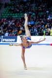 Alexandra Soldatova performs with clubs Stock Photo