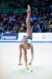 Alexandra Soldatova performs with clubs Stock Images