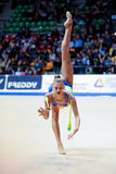 Alexandra Soldatova performs with clubs Stock Photo