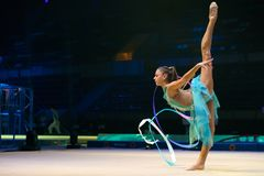 "Alexandra Soldatova, Rhythmic gymnastics. MOSCOW, RUSSIA - NOVEMBER 16-17, 2018: Alexandra Soldatova, multiple rhythmic gymnastics champion at the ""Legends stock photography"