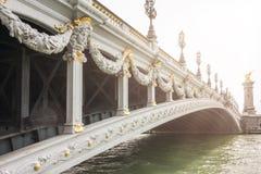 alexandre桥梁法国有历史iii在巴黎pont河围网视图水 免版税图库摄影