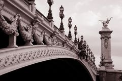 alexandre桥梁iii巴黎 库存照片