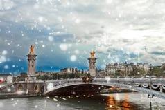 Alexandre桥梁III,巴黎,法国 库存图片