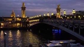 Alexandre桥梁III,巴黎,法国 股票录像