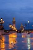Alexandre桥梁III,巴黎,法国 库存照片