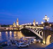 Alexandre Bridge in Paris at night Royalty Free Stock Photo