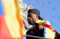 Alexandre Dimitri Song Billong från Kamerun, spelare av det F.C Barcelona fotbollslaget Arkivfoton