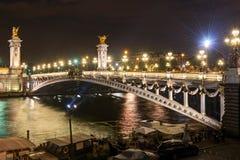Alexandre III Bridge At Night In Paris Stock Images