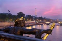 Alexandre iii bridge and eiffel tower Royalty Free Stock Image