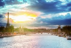 Bridge of Alexandre III and Eiffel tower,  Paris, Stock Photography