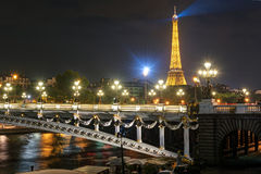 Alexandre III bridge at night in Paris Stock Images