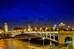 Alexandre III Bridge at the night view.Paris, France. Stock Photos