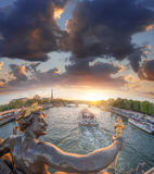 Alexandre III bridge in Paris against Eiffel Tower with boat on Seine, France Royalty Free Stock Images
