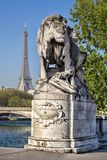 Alexandre III bridge in Paris against Eiffel Tower, France Royalty Free Stock Photography