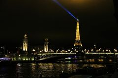 Alexandre III bridge in Paris with the Eiffel Tower in the background. Stock Images