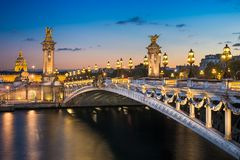Alexandre III bridge, Paris, France stock images