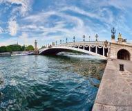 Alexandre III Bridge in Paris, panoramic image Royalty Free Stock Photos