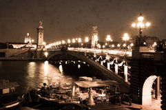Alexandre III Bridge in Paris, sepia Stock Images