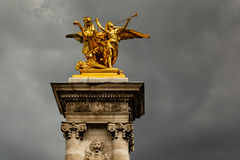Alexandre III Bridge Pillar Close Up against Clouds, Paris Royalty Free Stock Photography