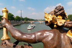 Alexandre III Bridge and Siene River in Paris, France Royalty Free Stock Photography