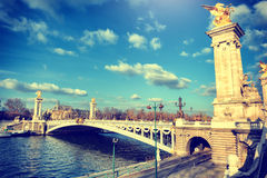 Alexandre III bridge at sunny day. Paris, France Stock Photo